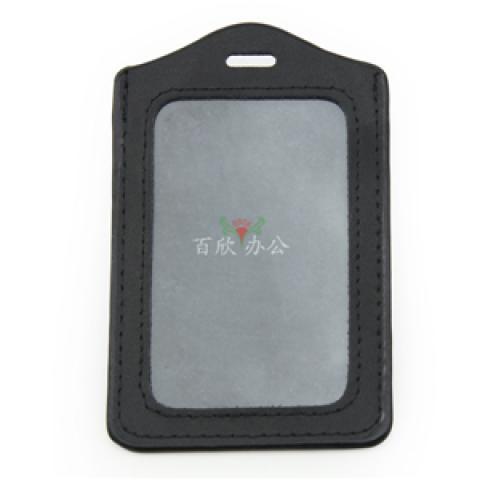 Bessie牌 皮革直式 工卡套 BS-ZJK205 黑色