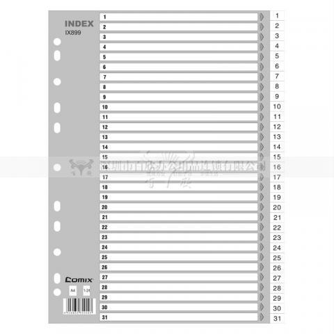 齐心易分类 月度索引纸 A4 31页(1-31) 11孔 P...