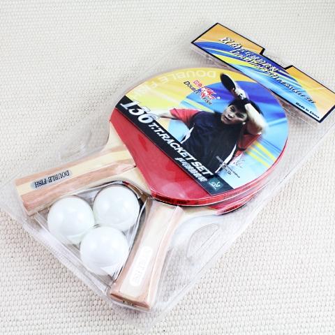 双鱼牌 乒乓球拍 长拍双面反胶 136套装拍 送3个球