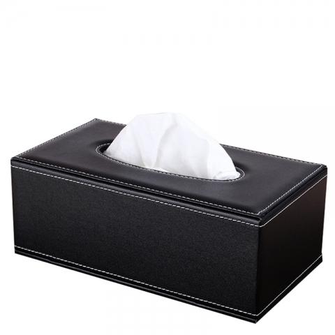 皮革纸巾盒 黑色