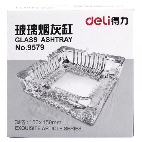 得力9579玻璃方形中烟灰缸 150*150mm