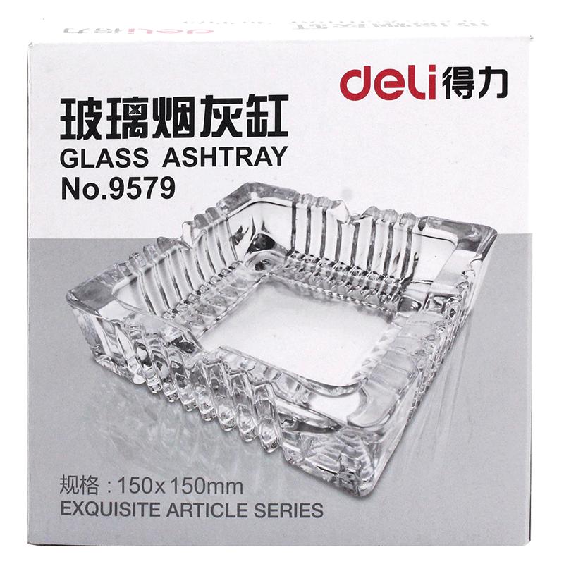得力9579玻璃方形中烟灰缸 150*150mm-1