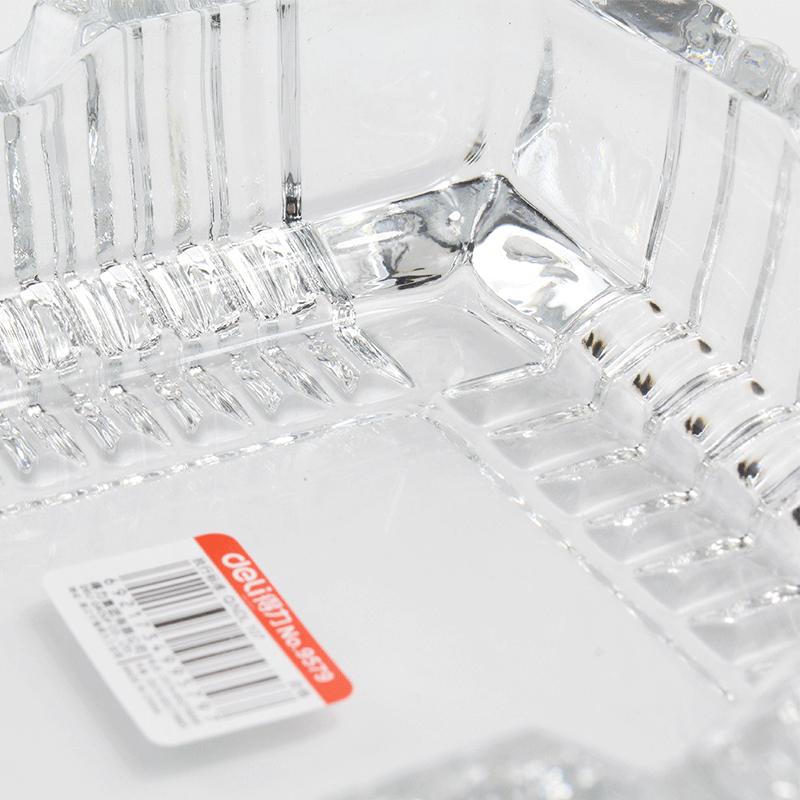 得力9579玻璃方形中烟灰缸 150*150mm-4